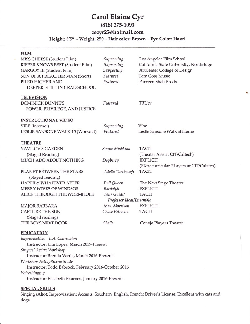 Carol Elaine Cyr - Acting Resume - July 2017